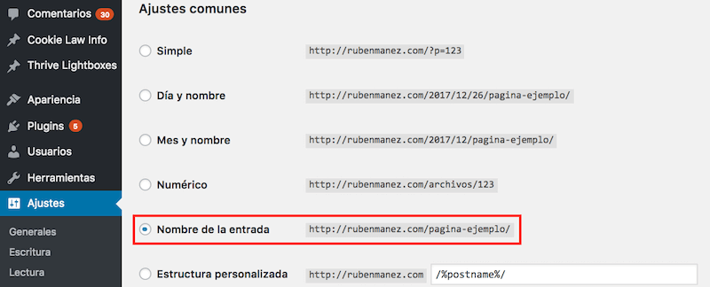 Ajustes permanentes wordpress
