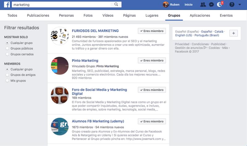como buscar grupos en facebook