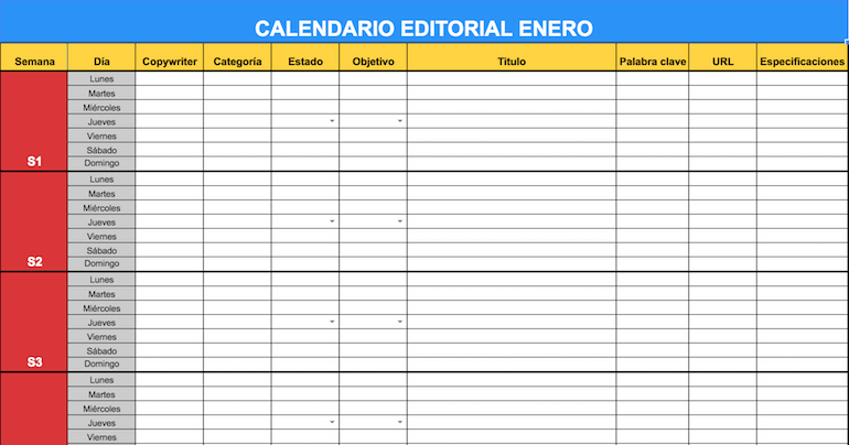 Calendario Editorial Blog