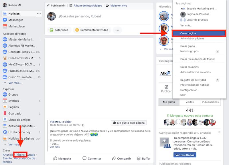 Crear pagina empresa facebook