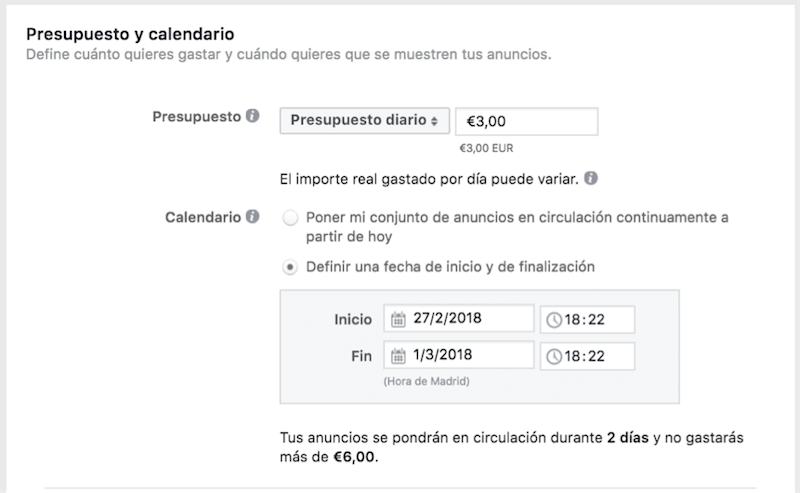 presupuesto facebook