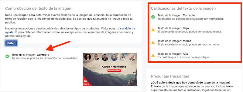 texto anuncios facebook