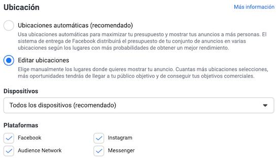 Ubicaciones en Facebook Ads