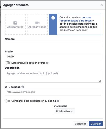 agregar producto facebook