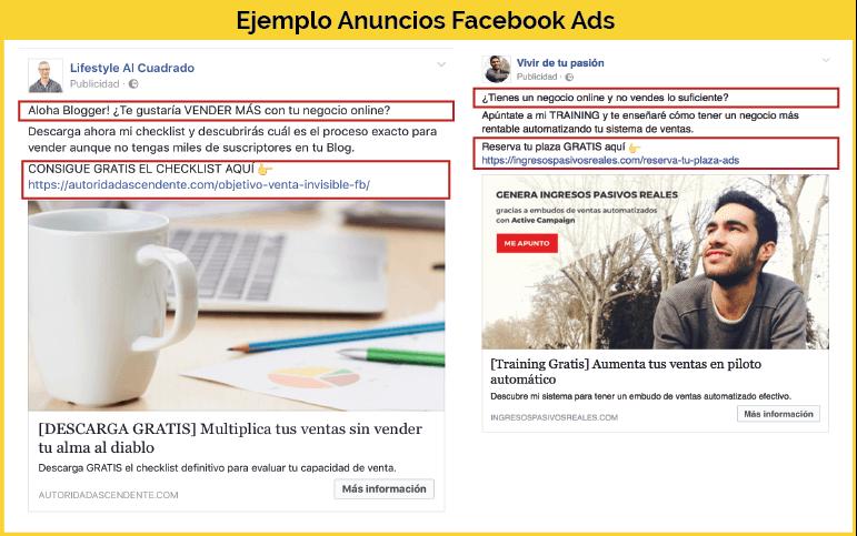 Ejemplo anuncios Facebook Ads