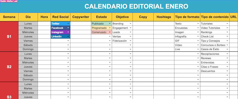 Plantilla calendario editorial redes sociales