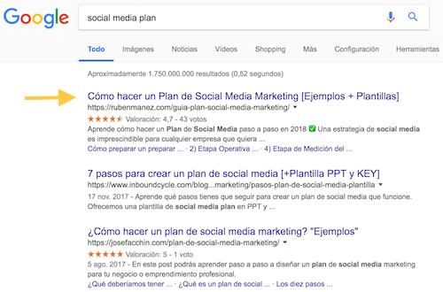 resultados búsqueda en google