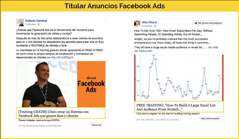 Título anuncio Facebook Ads
