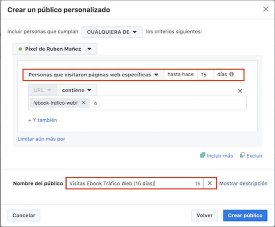 Crear público personalizado en Facebook
