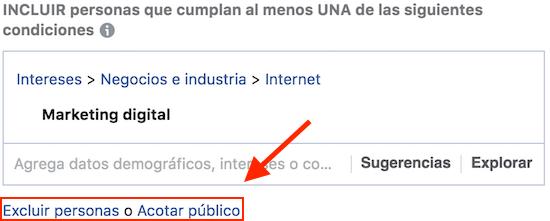 excluir o acotar publicos en facebook