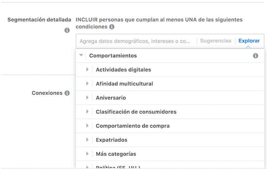 segmentacion por comportamientos en facebook