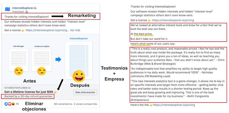 Ejemplo anuncio Facebook antes y despues