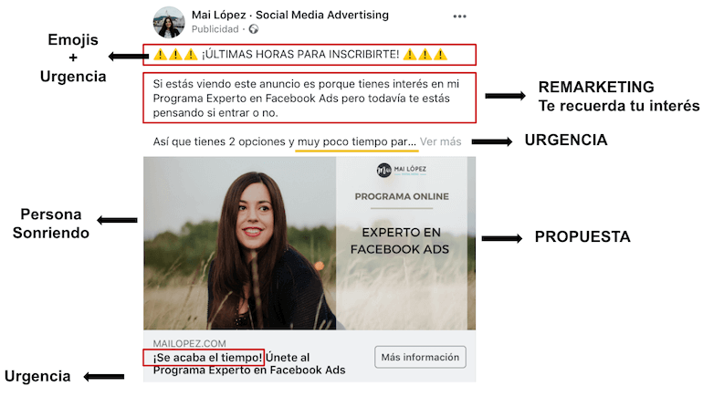 Ejemplo anuncio efectivo Facebook Ads