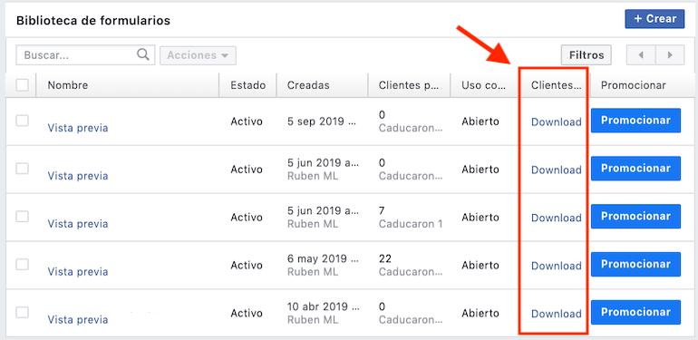 Descargar leads de facebook ads
