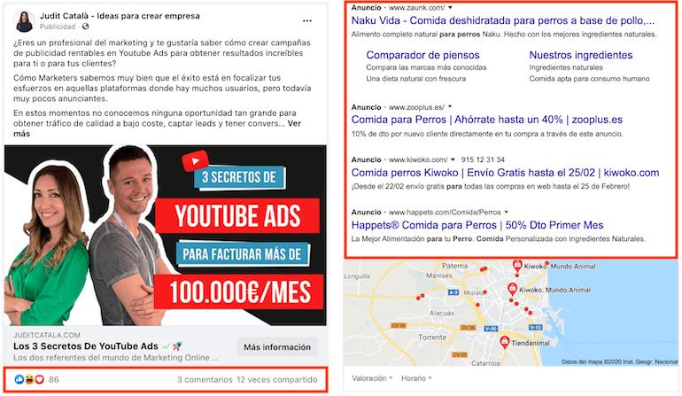 anuncios en google vs anuncios en facebook
