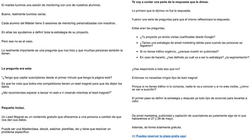 ejemplo campaña email marketing